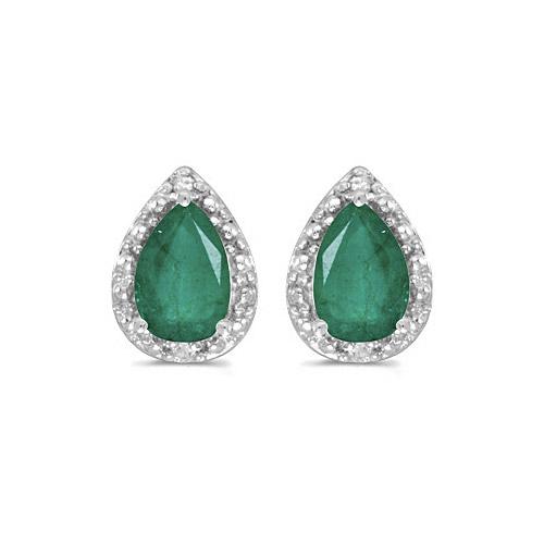 10k White Gold Pear Emerald And Diamond Earrings