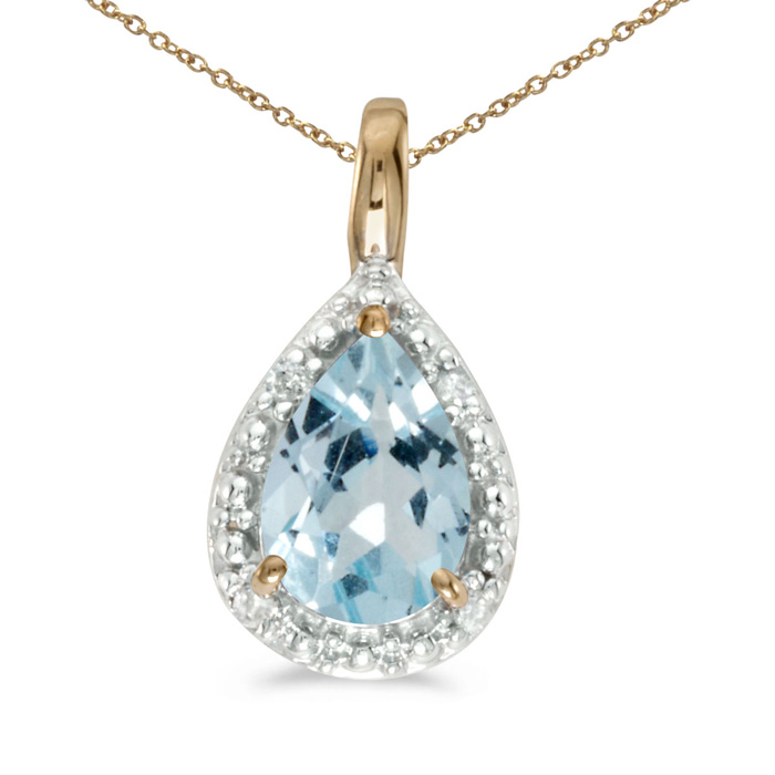 14k Yellow Gold Pear Aquamarine Pendant with 18