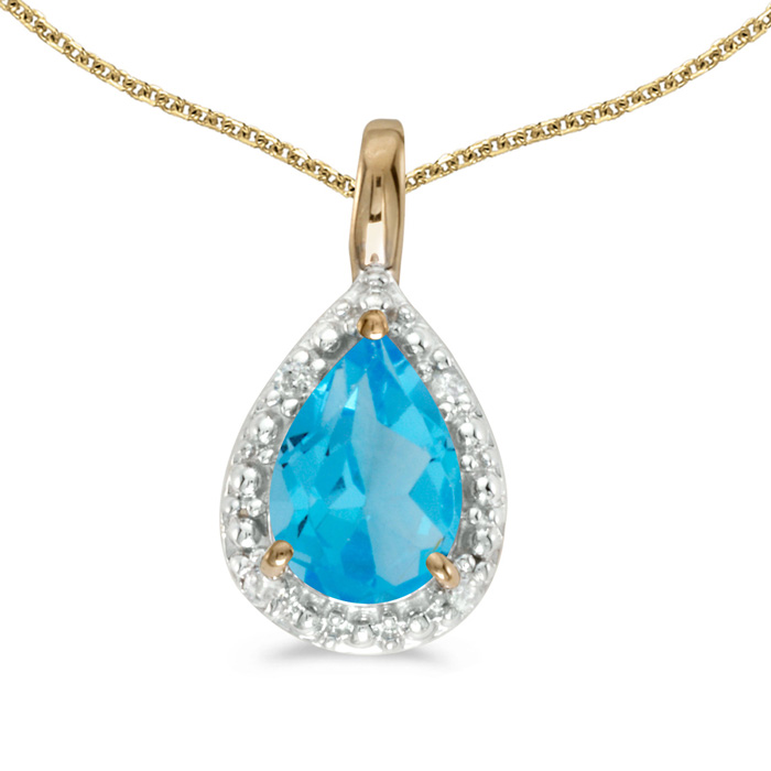 14k Yellow Gold Pear Blue Topaz Pendant with 18