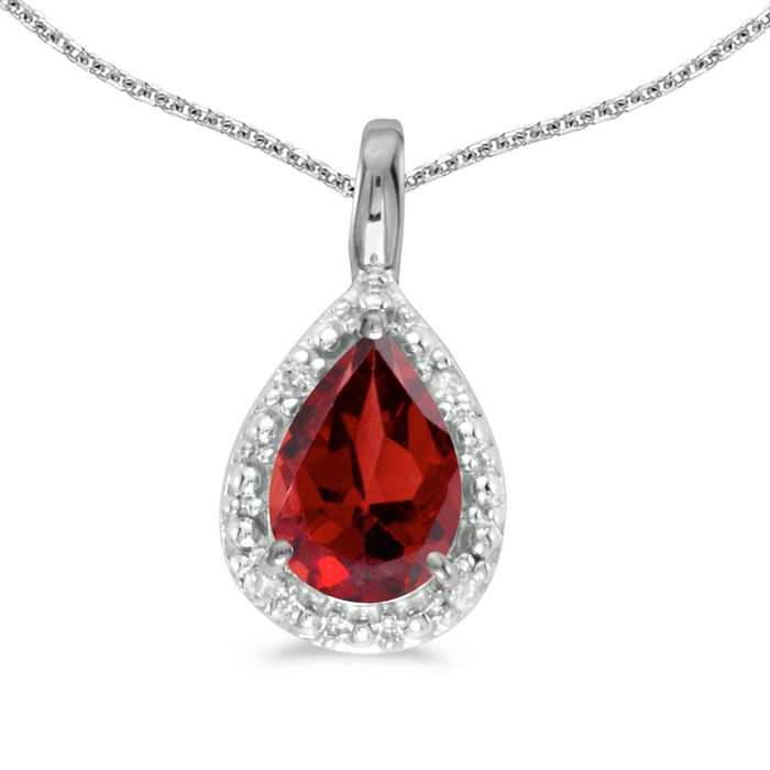 14k White Gold Pear Garnet Pendant with 18