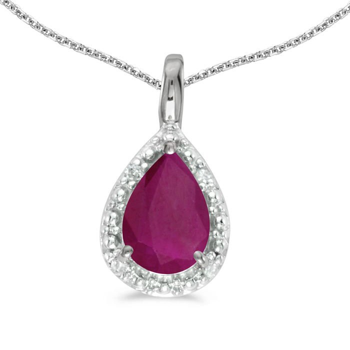 14k White Gold Pear Ruby Pendant with 18