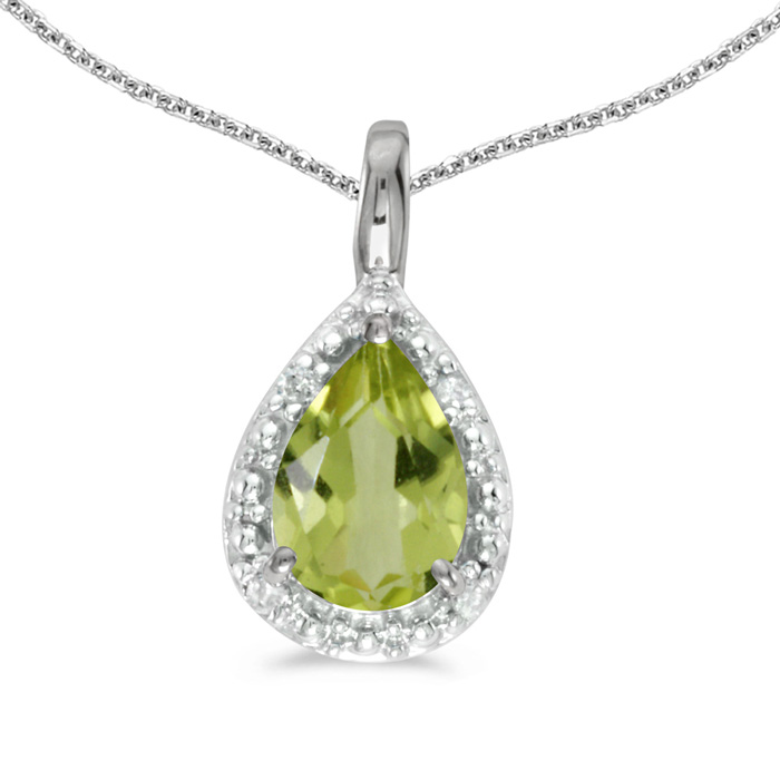 14k White Gold Pear Peridot Pendant with 18