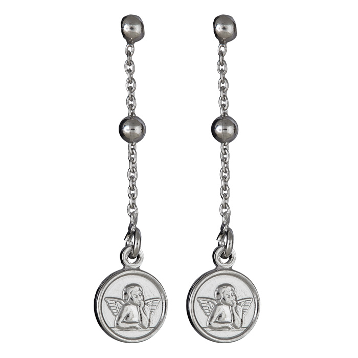 Sterling Silver Dangling Beads and Angel Pendant Earrings