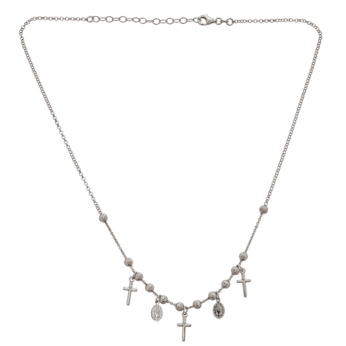 Sterling Silver Cross and Virgin Mary Necklace, 16 Inches with Free Chain