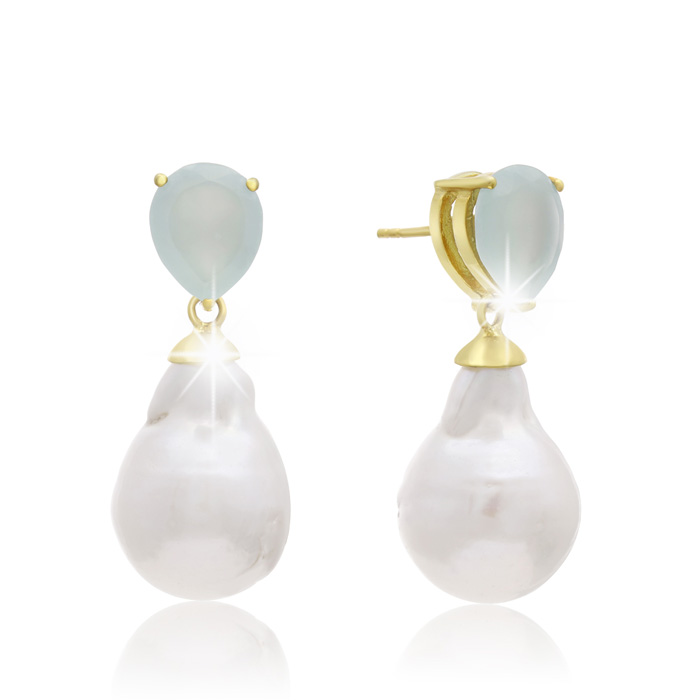 64 Carat Pear Shape Green Chalcedony and Baroque Pearl Dangle Earrings In 14K Yellow Gold