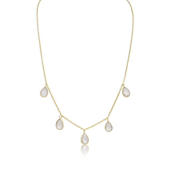 4 Carat Clear Quartz Multi Drop Necklace In 14K Yellow Gold, 18 Inches