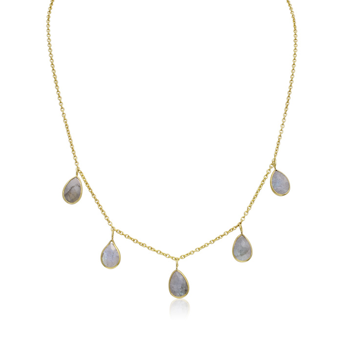 4 Carat Labradorite Multi Drop Necklace In 14K Yellow Gold, 18 Inches