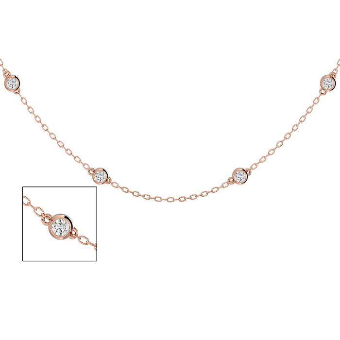 14 Karat Rose Gold 1 Carat Diamonds By The Yard Necklace