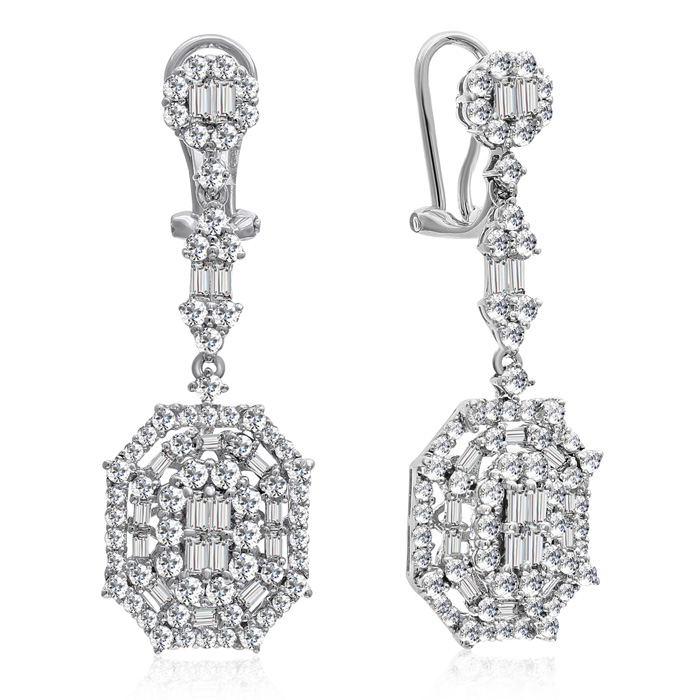 18 Karat White Gold 3 Carat Baguette and Round Diamond Dangle Earrings