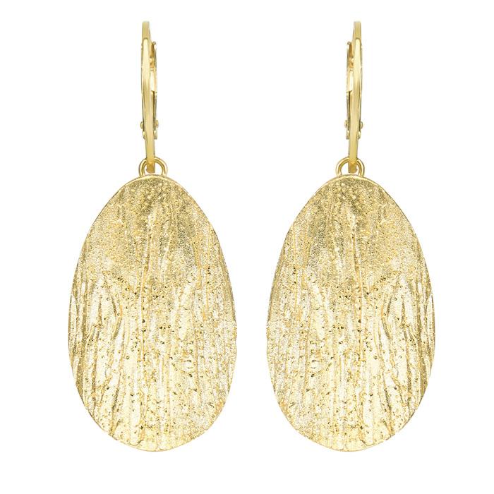 14 Karat Yellow Gold Over Sterling Silver Stardust Oval Pendant Earrings