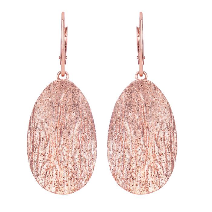 14 Karat Rose Gold Over Sterling Silver Stardust Oval Pendant Earrings