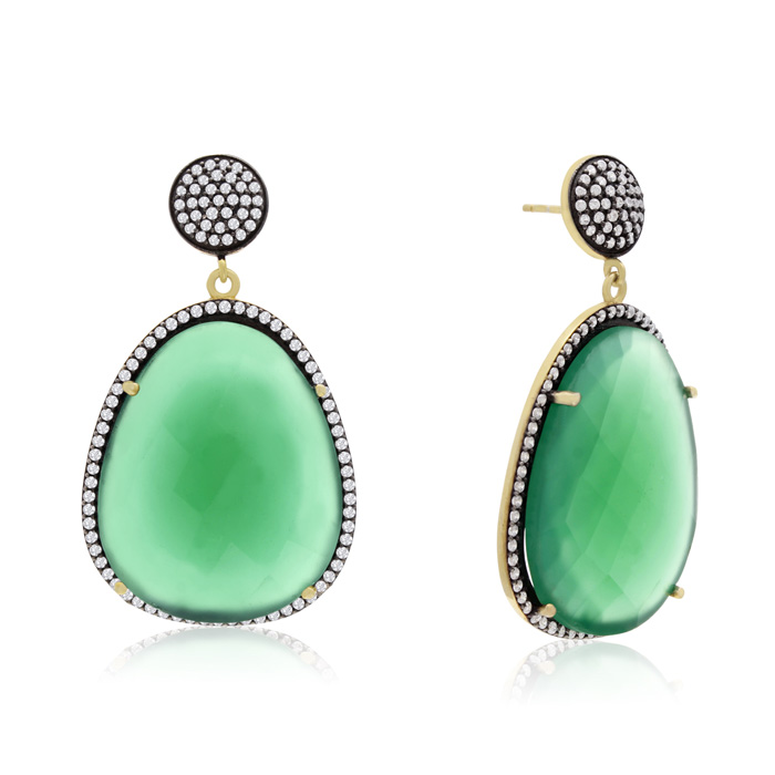 60 Carat Free Form Emerald and Simulated Diamond Dangle Earrings In 14K Yellow Gold