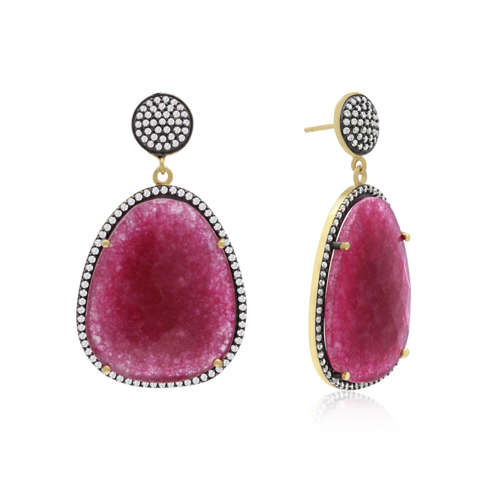 60 Carat Free Form Ruby and Simulated Diamond Dangle Earrings In 14K Yellow Gold