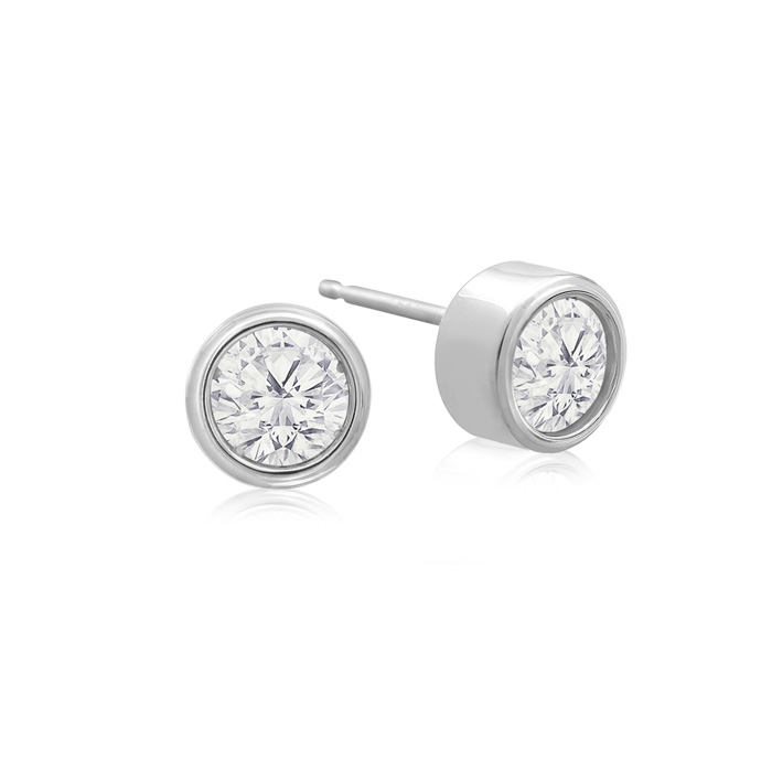 1/2 Carat Bezel Set Diamond Stud Earrings Crafted In 14 Karat White Gold