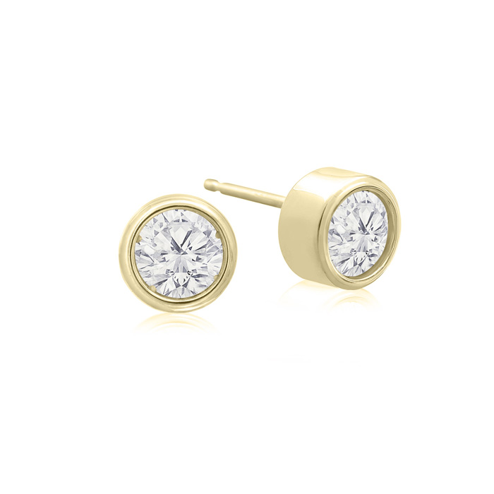 1/2 Carat Bezel Set Diamond Stud Earrings Crafted In 14 Karat Yellow Gold
