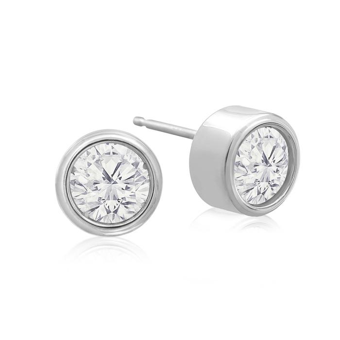 1 1/3 Carat Bezel Set Diamond Stud Earrings Crafted In 14 Karat White Gold