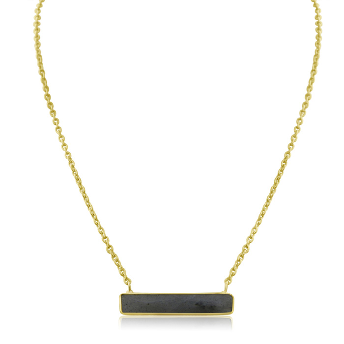 10 Carat Labradorite Bar Necklace In Yellow Gold Overlay