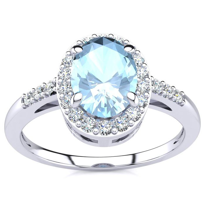 1 Carat Oval Shape Aquamarine and Halo Diamond Ring In 14K White Gold