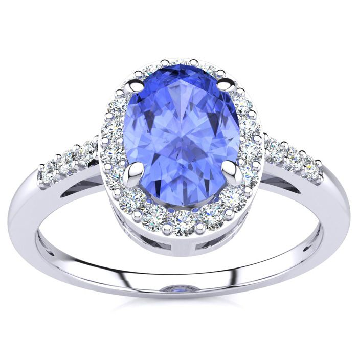 1 Carat Oval Shape Tanzanite and Halo Diamond Ring In 14K White Gold