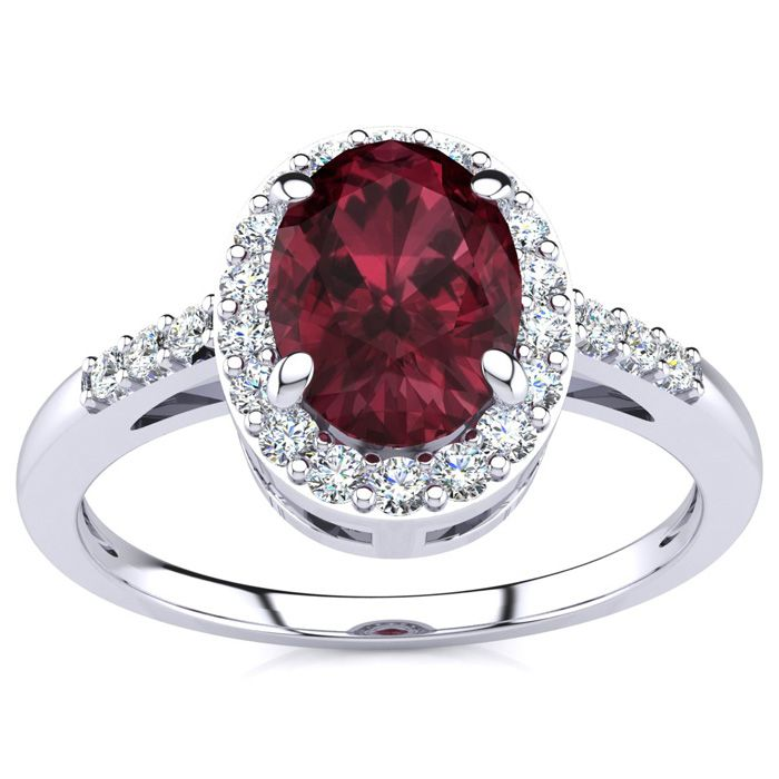 1 Carat Oval Shape Garnet and Halo Diamond Ring In 14K White Gold