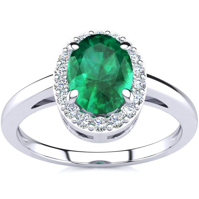 1 Carat Oval Shape Emerald and Halo Diamond Ring In 14K White Gold
