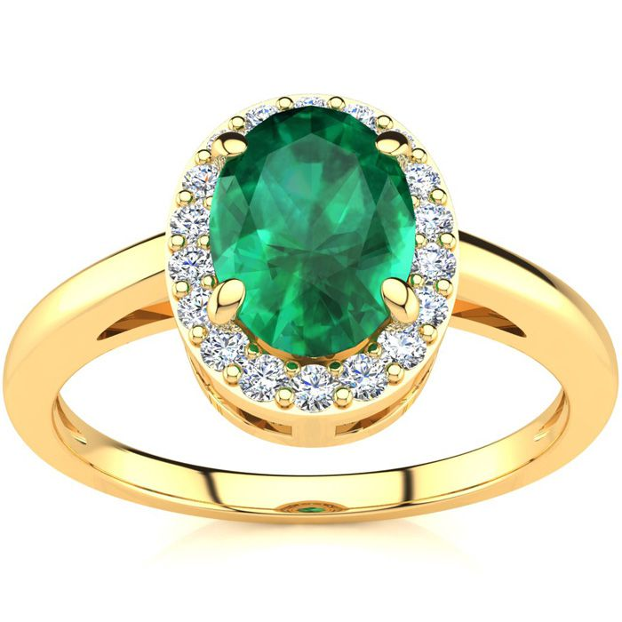 1 Carat Oval Shape Emerald and Halo Diamond Ring In 14K Yellow Gold