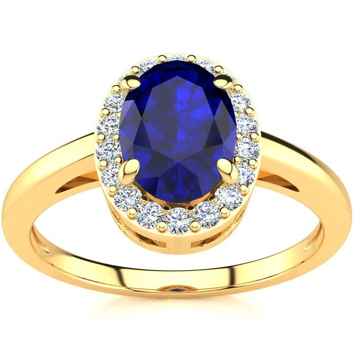 1 Carat Oval Shape Sapphire and Halo Diamond Ring In 14K Yellow Gold