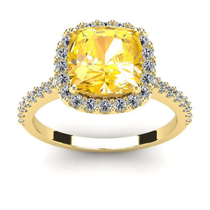 2 1/2 Carat Cushion Cut Citrine and Halo Diamond Ring In 14K Yellow Gold
