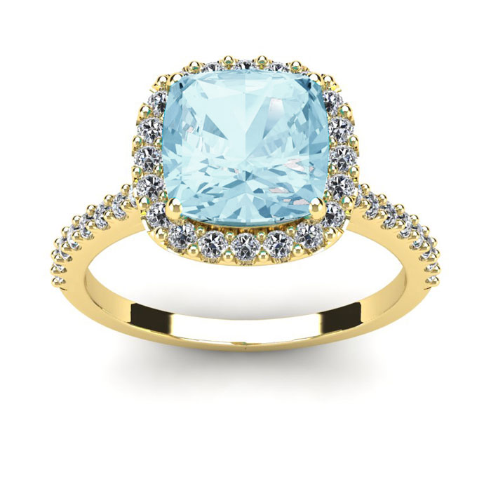 2 1/2 Carat Cushion Cut Aquamarine and Halo Diamond Ring In 14K Yellow Gold