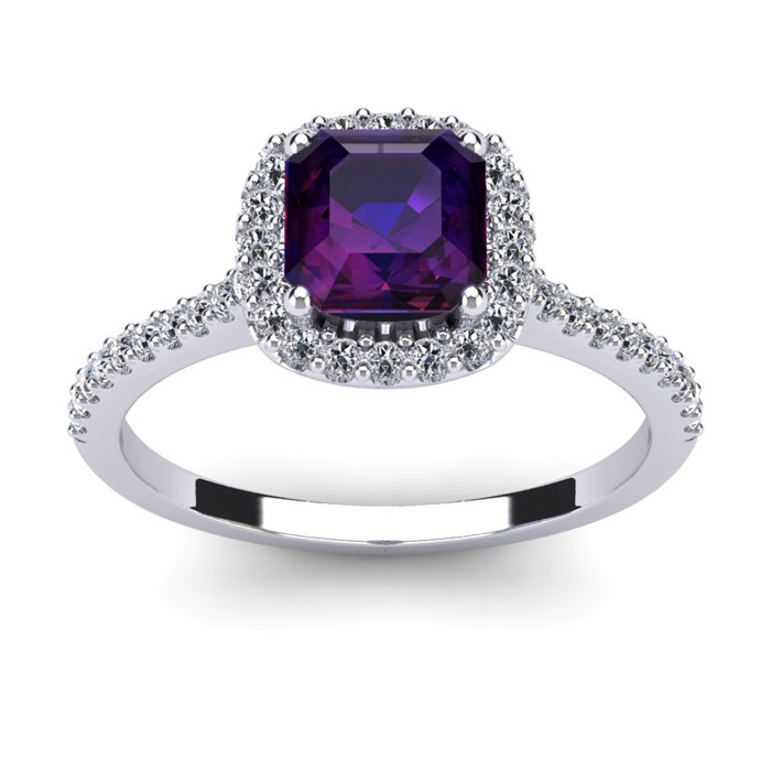 1 Carat Cushion Cut Amethyst and Halo Diamond Ring In 14K White Gold