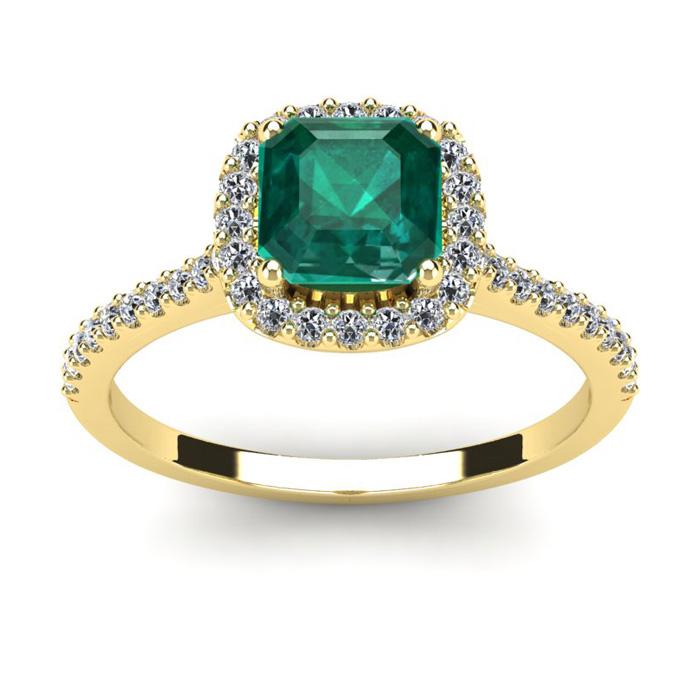 1 1/2 Carat Cushion Cut Emerald and Halo Diamond Ring In 14K Yellow Gold
