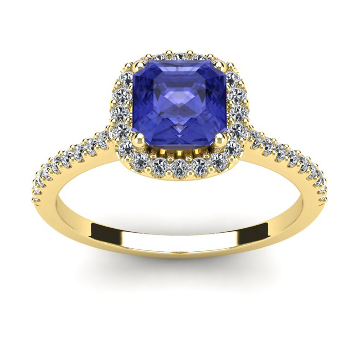 1 1/3 Carat Cushion Cut Tanzanite and Halo Diamond Ring In 14K Yellow Gold