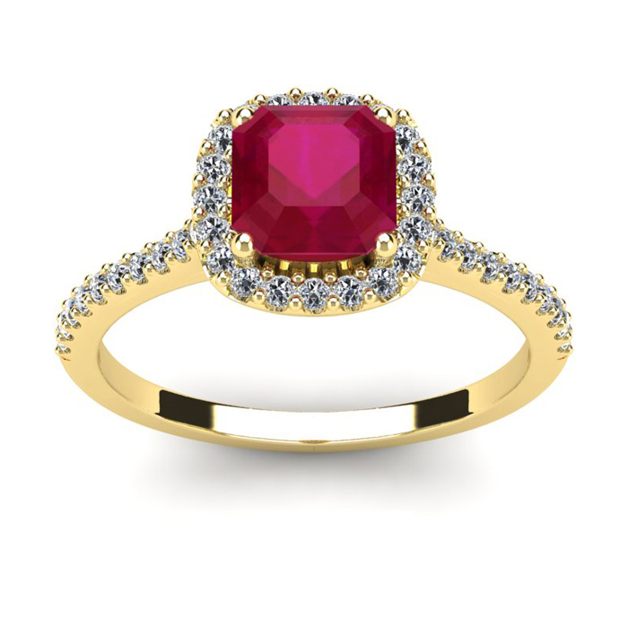 1 3/4 Carat Cushion Cut Ruby and Halo Diamond Ring In 14K Yellow Gold