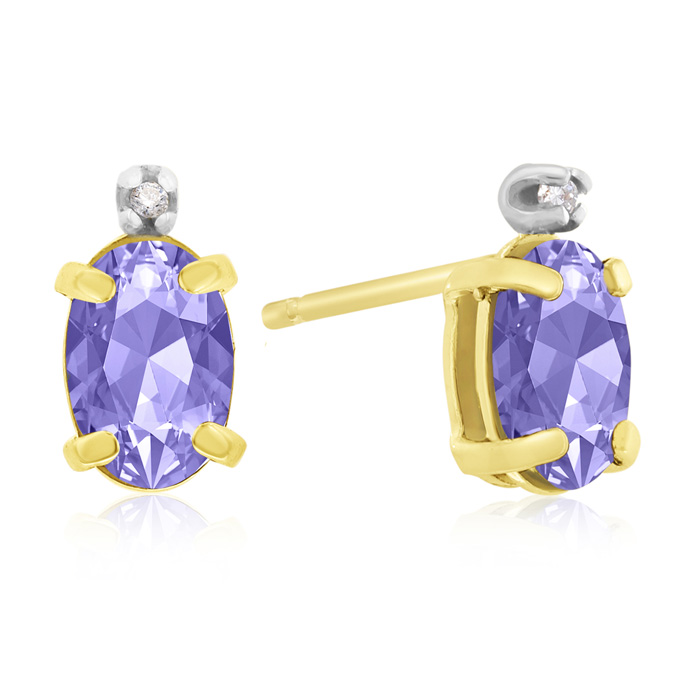 1 1/4ct Oval Tanzanite and Diamond Earrings in 14k Yellow Gold