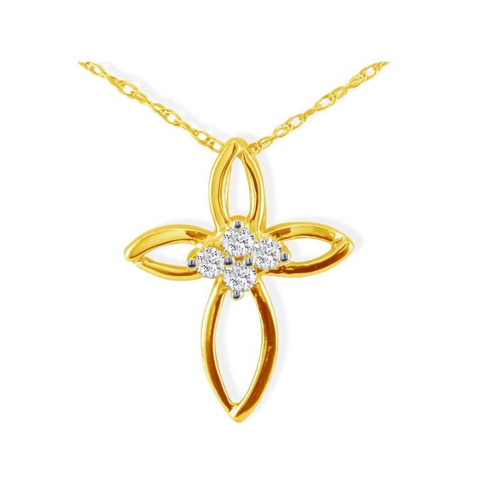 .10ct 4 Diamond Center Point Cross Pendant in 10k Yellow Gold