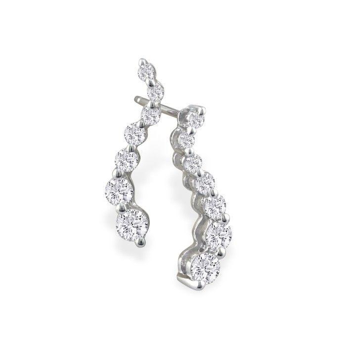 1ct Journey Diamond Earrings in 14k White Gold
