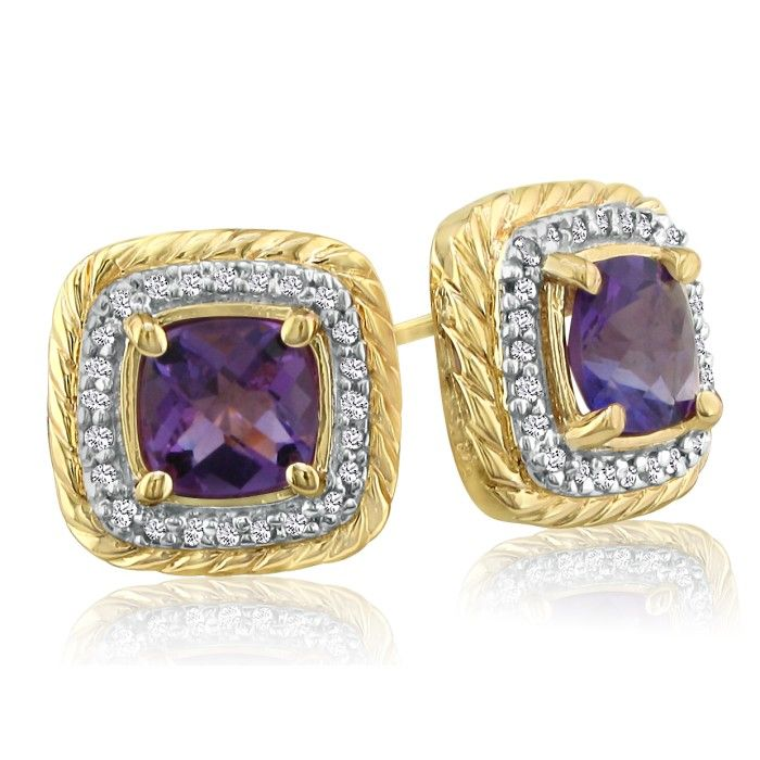 Rope Design Amethyst and Diamond Earrings in 14k Yellow Gold