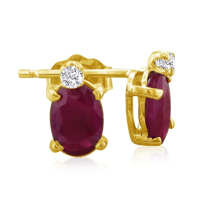 2ct Oval Ruby and Diamond Earrings in 14k Yellow Gold