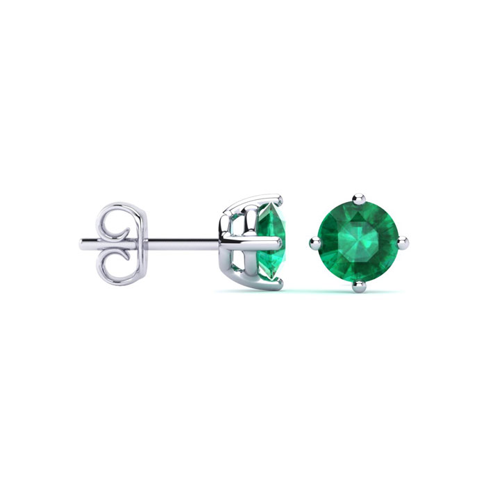 1/2ct Natural Emerald Stud Earrings in Sterling Silver