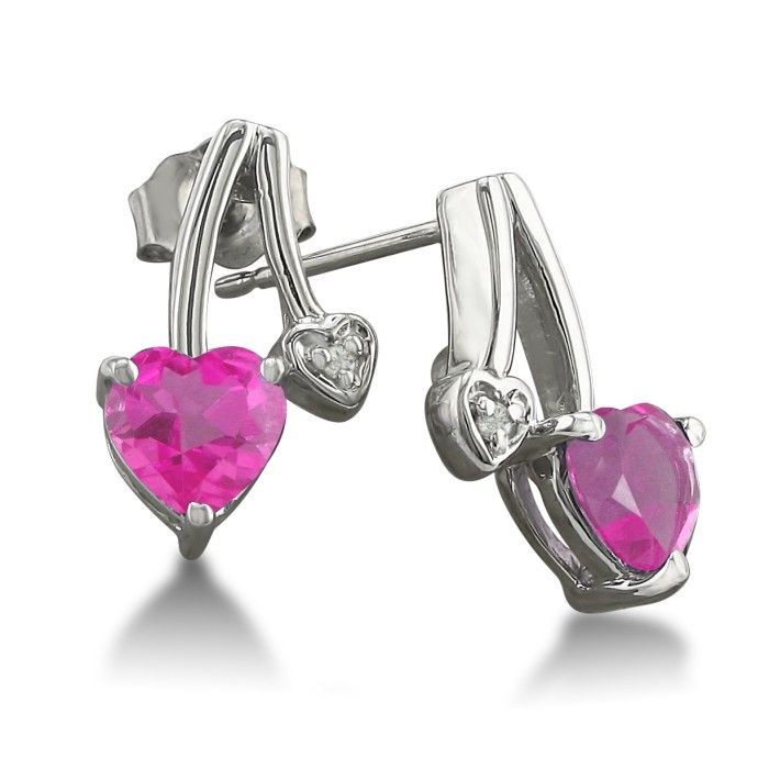 3/4ct Pink Topaz and Diamond Heart Earrings in 10k White Gold