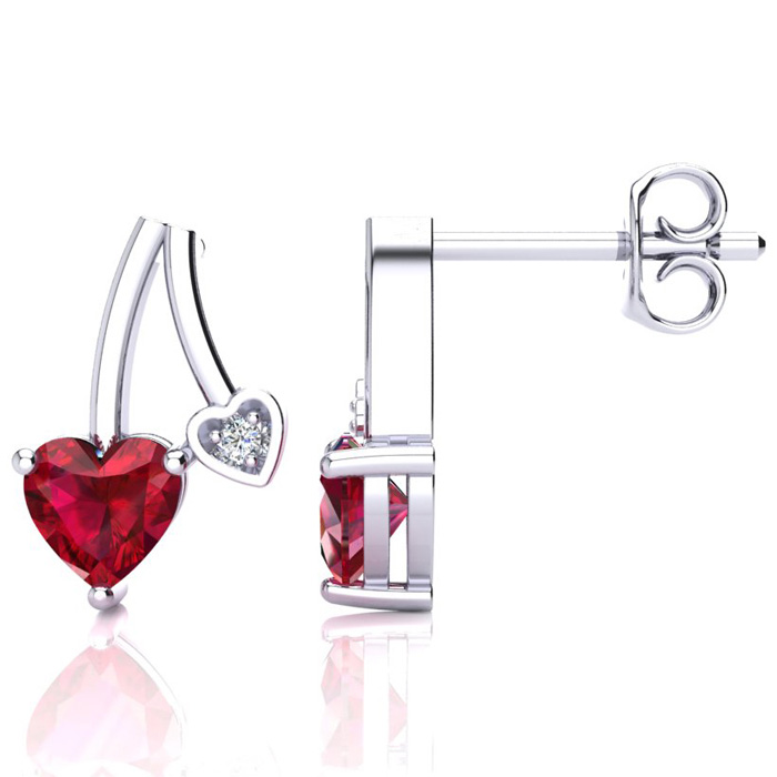 3/4ct Ruby and Diamond Heart Earrings in 10k White Gold