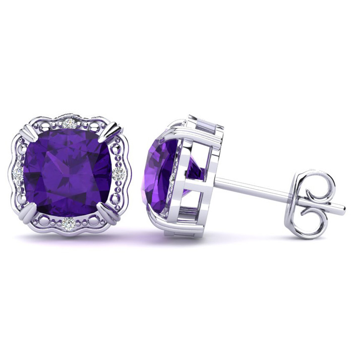 2ct Cushion Cut Amethyst and Diamond Earrings in 10k White Gold