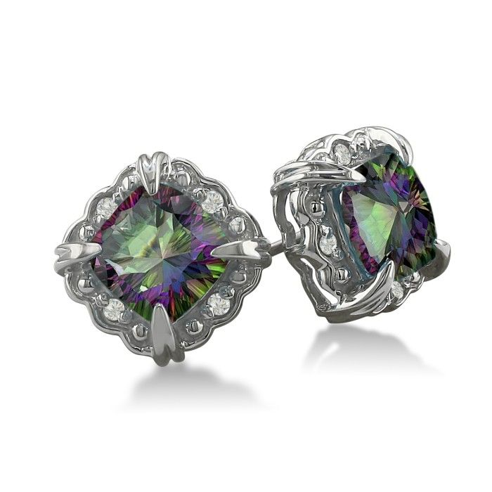 2ct Cushion Cut Mystic Topaz and Diamond Earrings in 10k White Gold