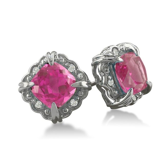 2ct Cushion Cut Pink Topaz and Diamond Earrings in 10k White Gold