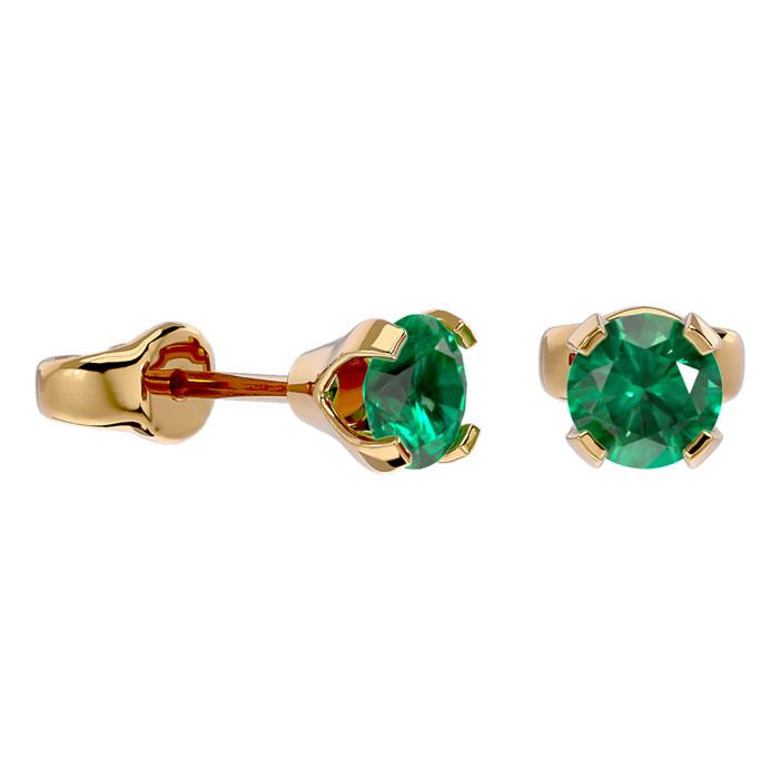 .50ct Emerald Stud Earrings in 14k Yellow Gold