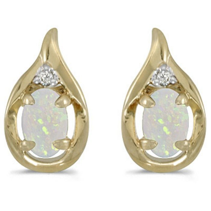 1/2ct Oval Opal And Diamond Earrings in 14k Yellow Gold