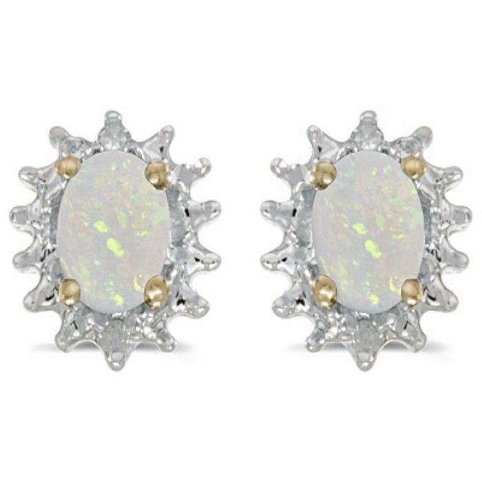 1/2ct Starburst Oval Opal And Diamond Earrings in 14k Yellow Gold