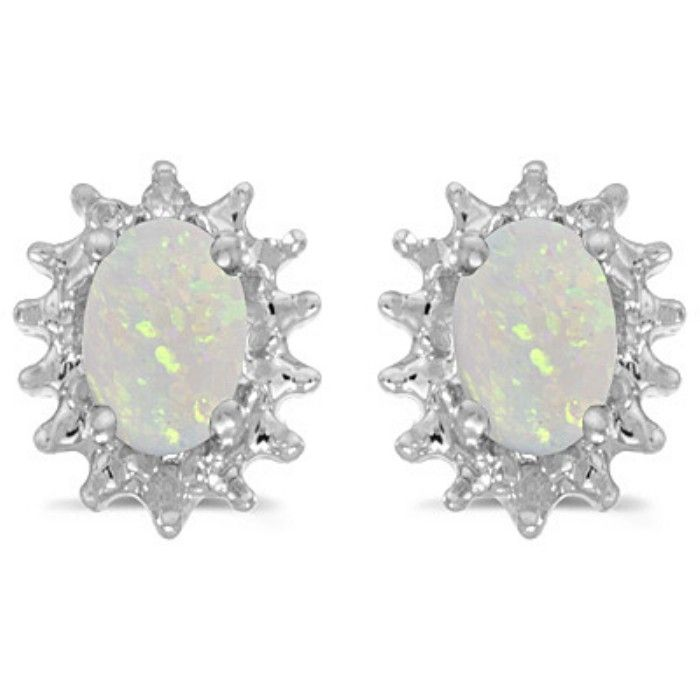 1/2ct Starburst Oval Opal And Diamond Earrings in 14k White Gold