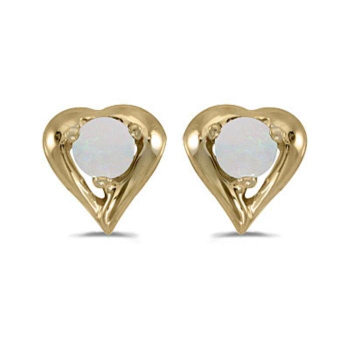 1/8ct Round Opal Heart Earrings in 14k Yellow Gold