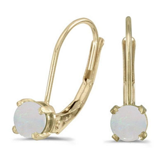 1/3ct Round Opal Leverback Earrings in 14k Yellow Gold